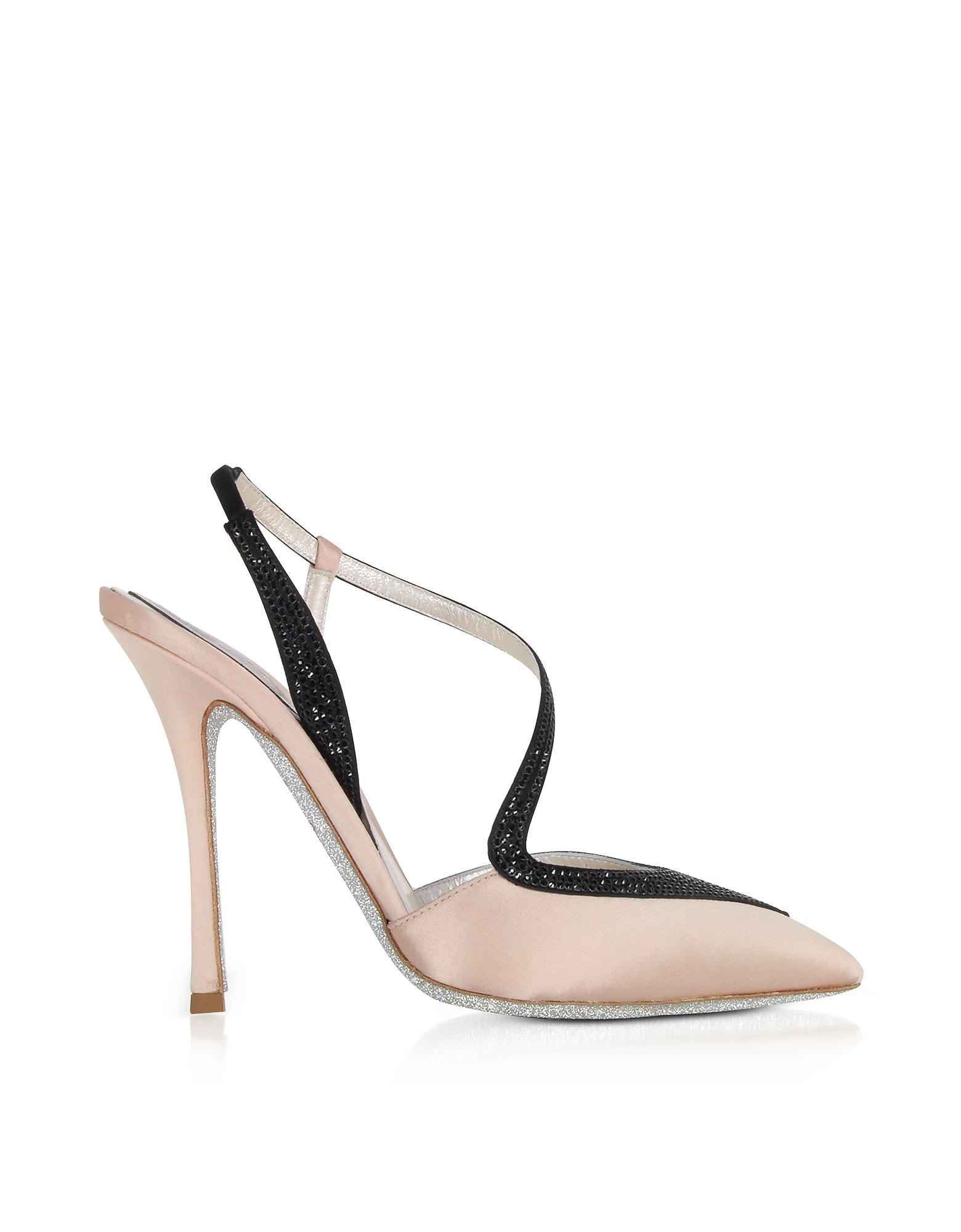 Rene Caovilla Shoes, Amanda Nude Satin Slingback Pumps w/Black Crystals