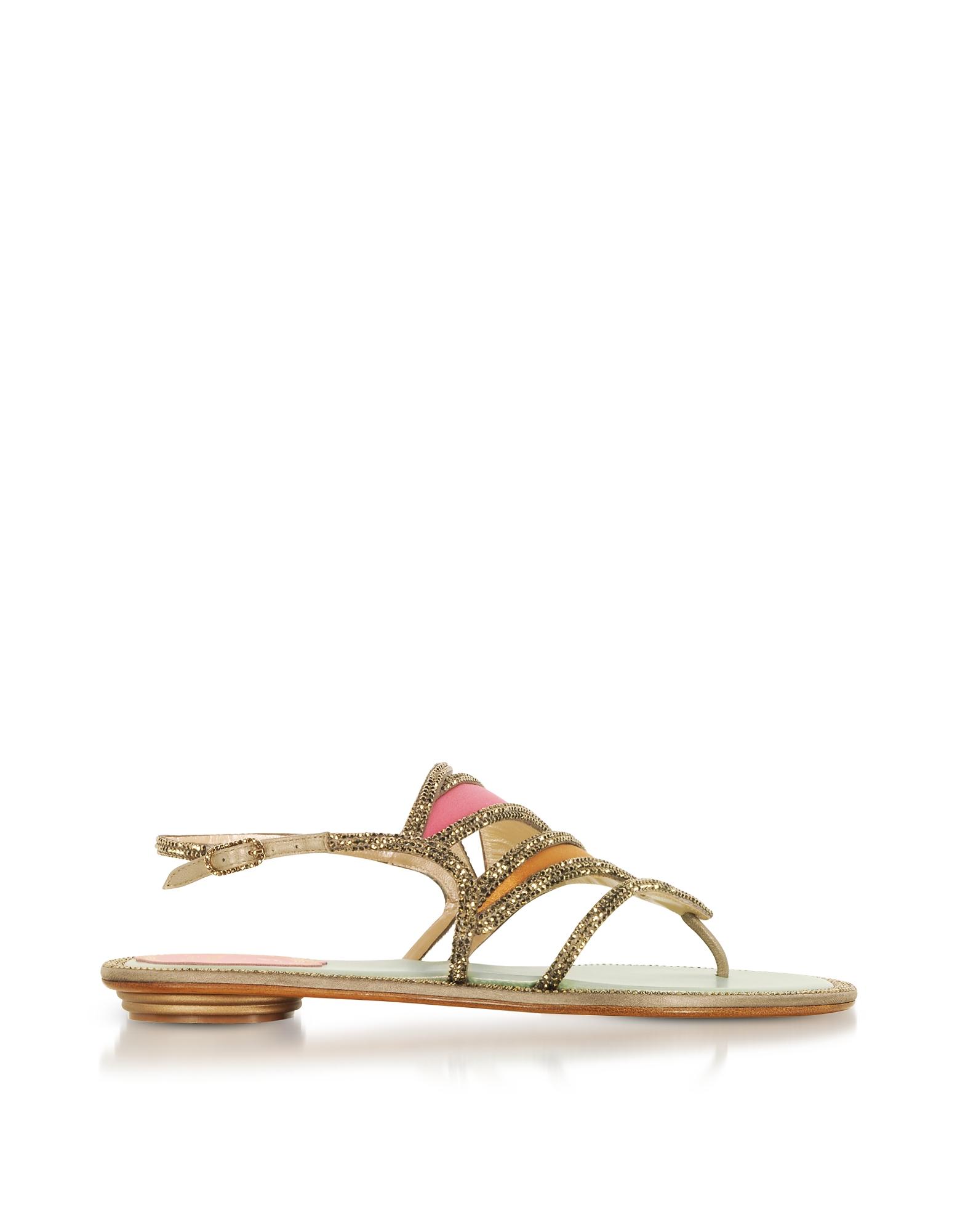 Rene Caovilla Shoes, Kandinsky Satin and Metallic Light Gold Flat Sandals w/Strass