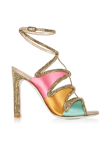 Kandinsky Satin and Metallic Light Gold High Heel Sandals w/Strass
