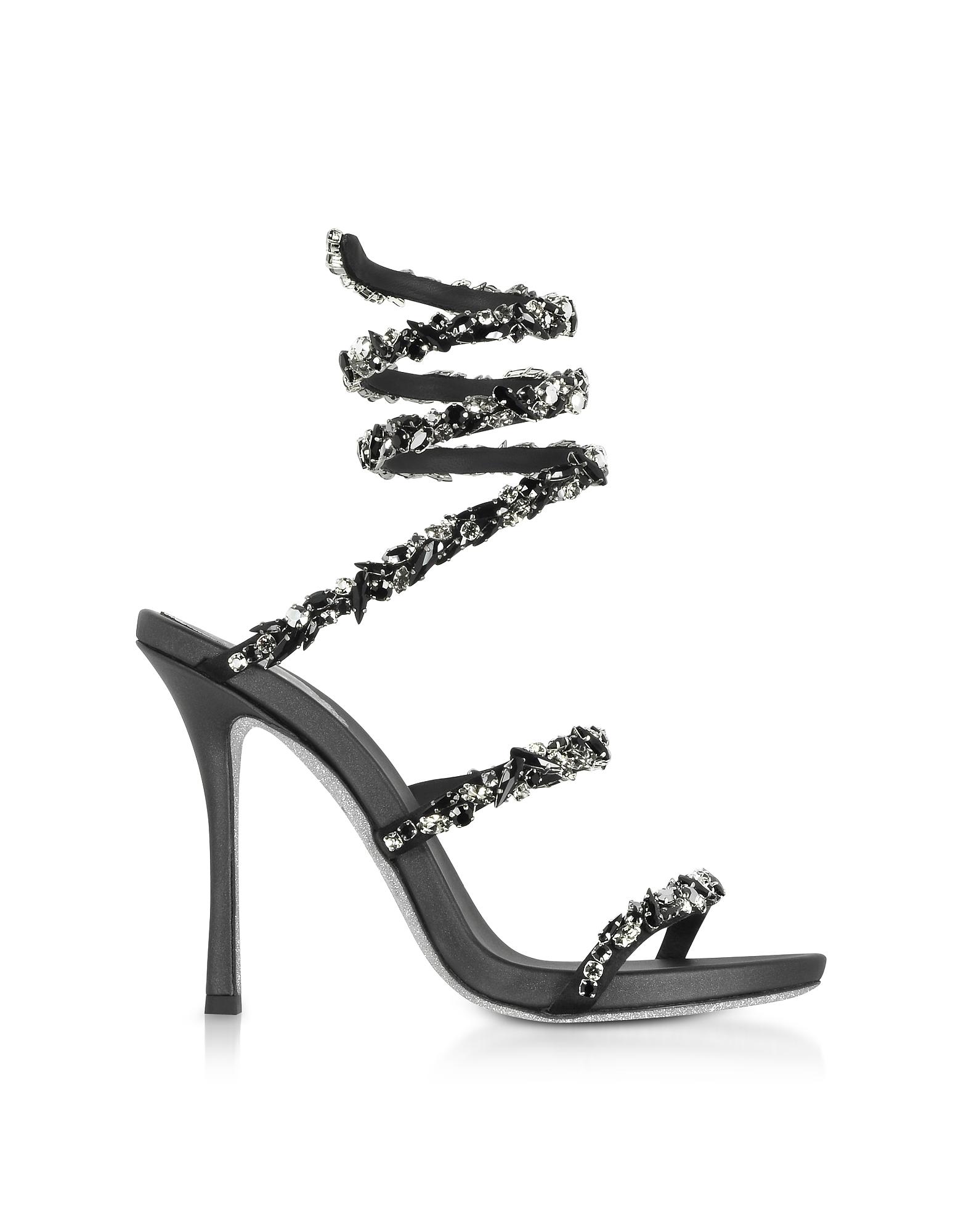 Image of Rene Caovilla Designer Shoes, Black Satin and Black Crystals High Heel Sandals