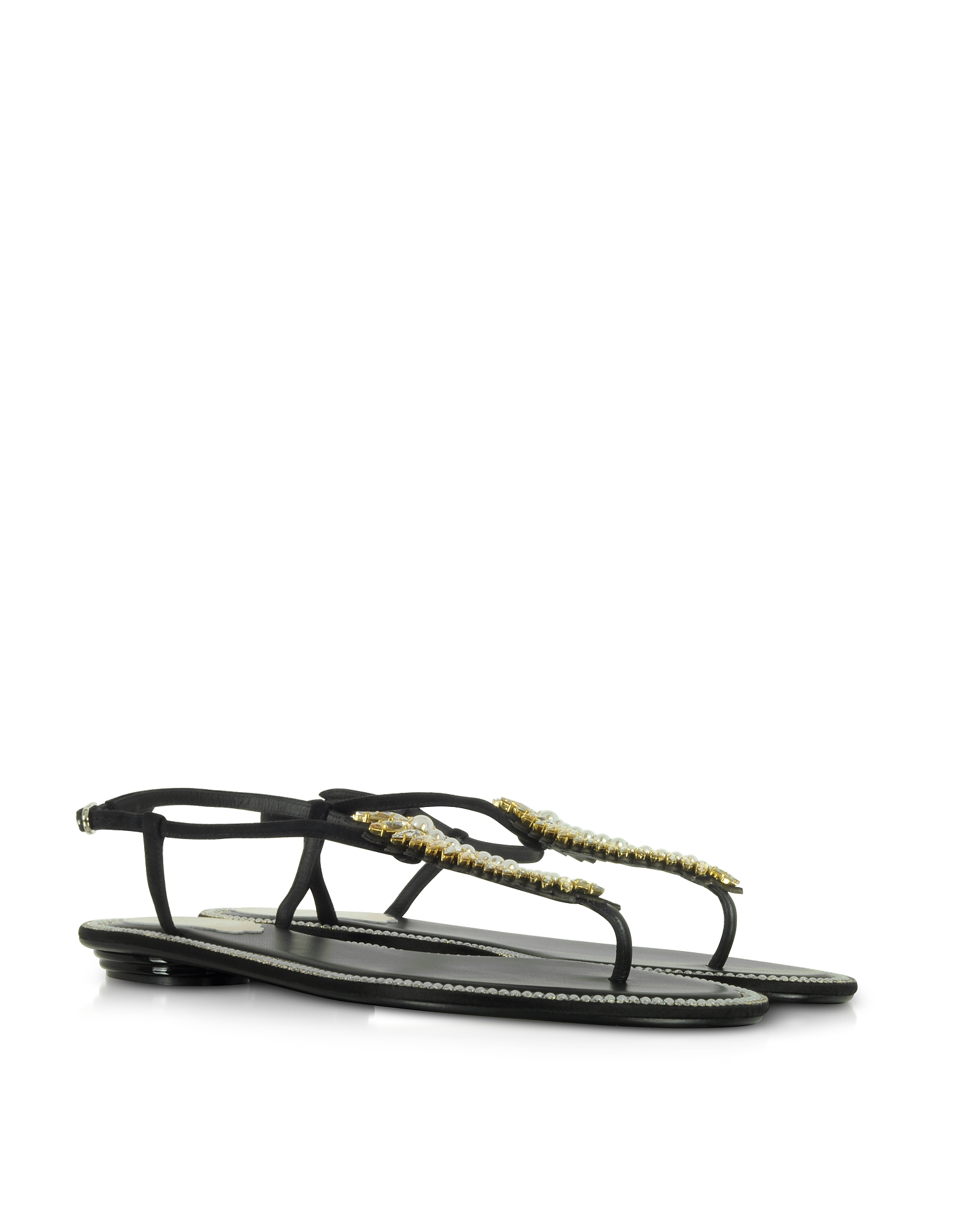 Rene Caovilla Shoes, Black Suede and Crystals Flat Sandals