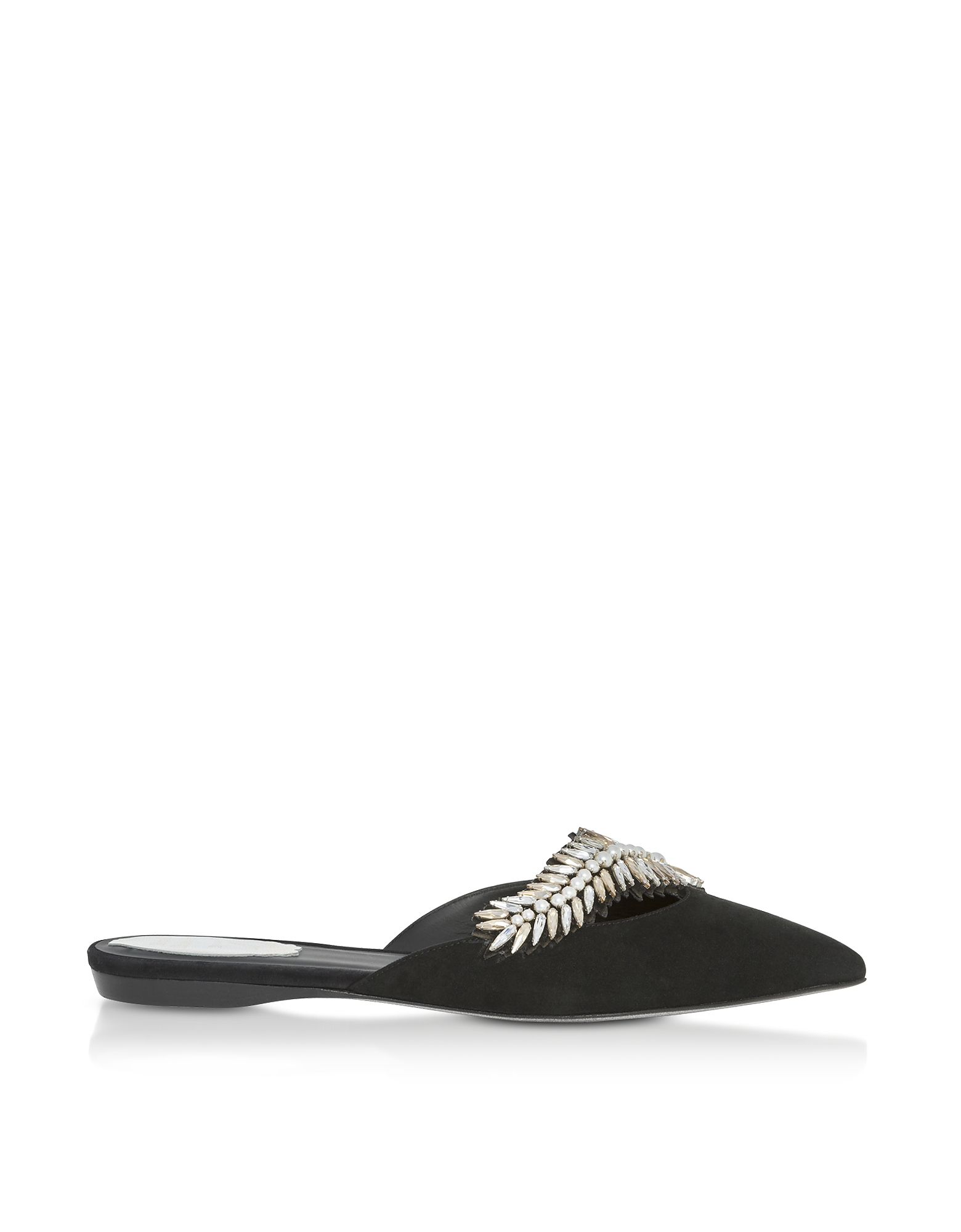 Rene Caovilla Shoes, Black Suede and Crystals Pointy Mules