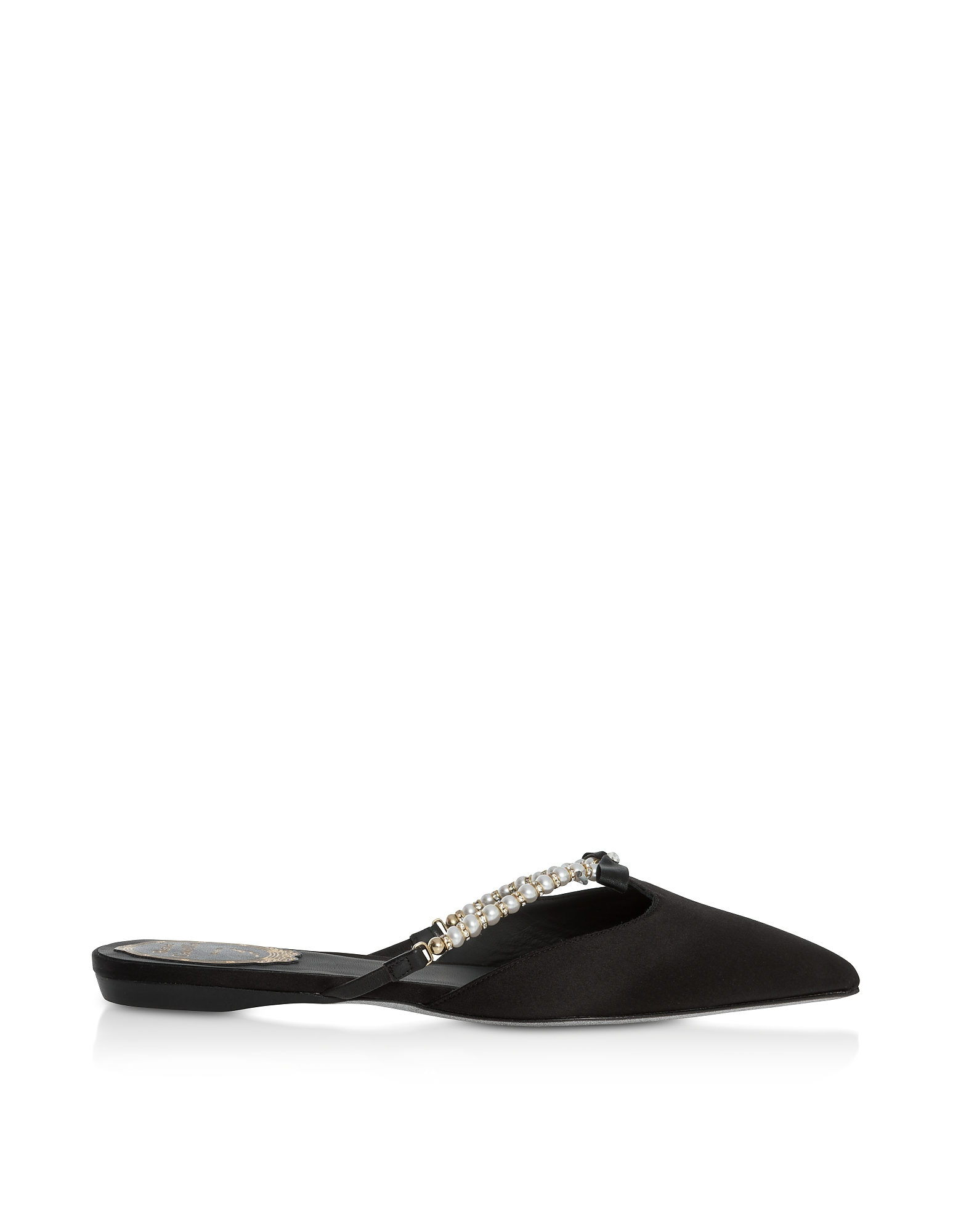 Rene Caovilla Shoes, Black Satin and Pearls Pointy Mules