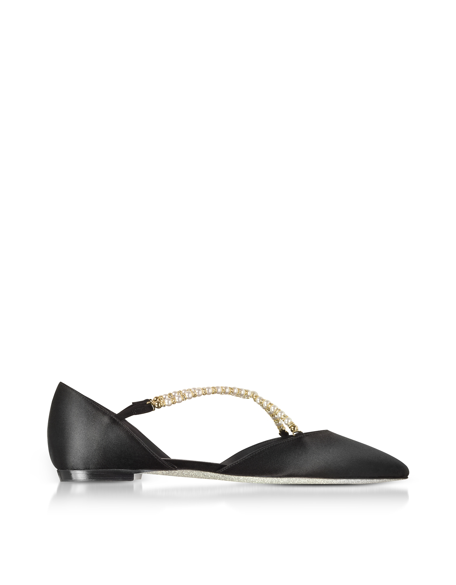 Rene Caovilla Shoes, Black Satin and Pearls Flat Ballerinas