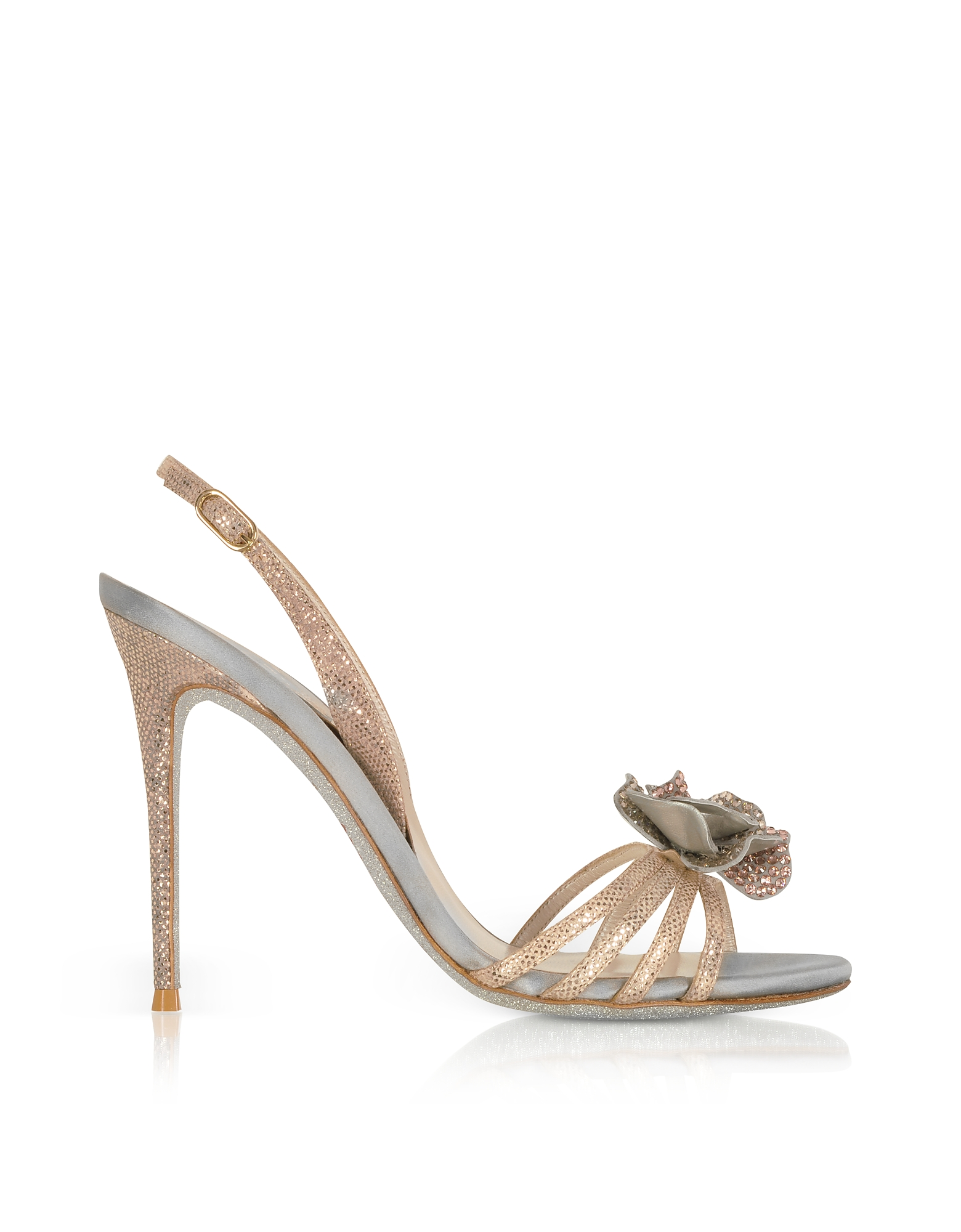 Rene Caovilla Shoes, Rose Gold Karung Leather and Silk High Heel Sandals