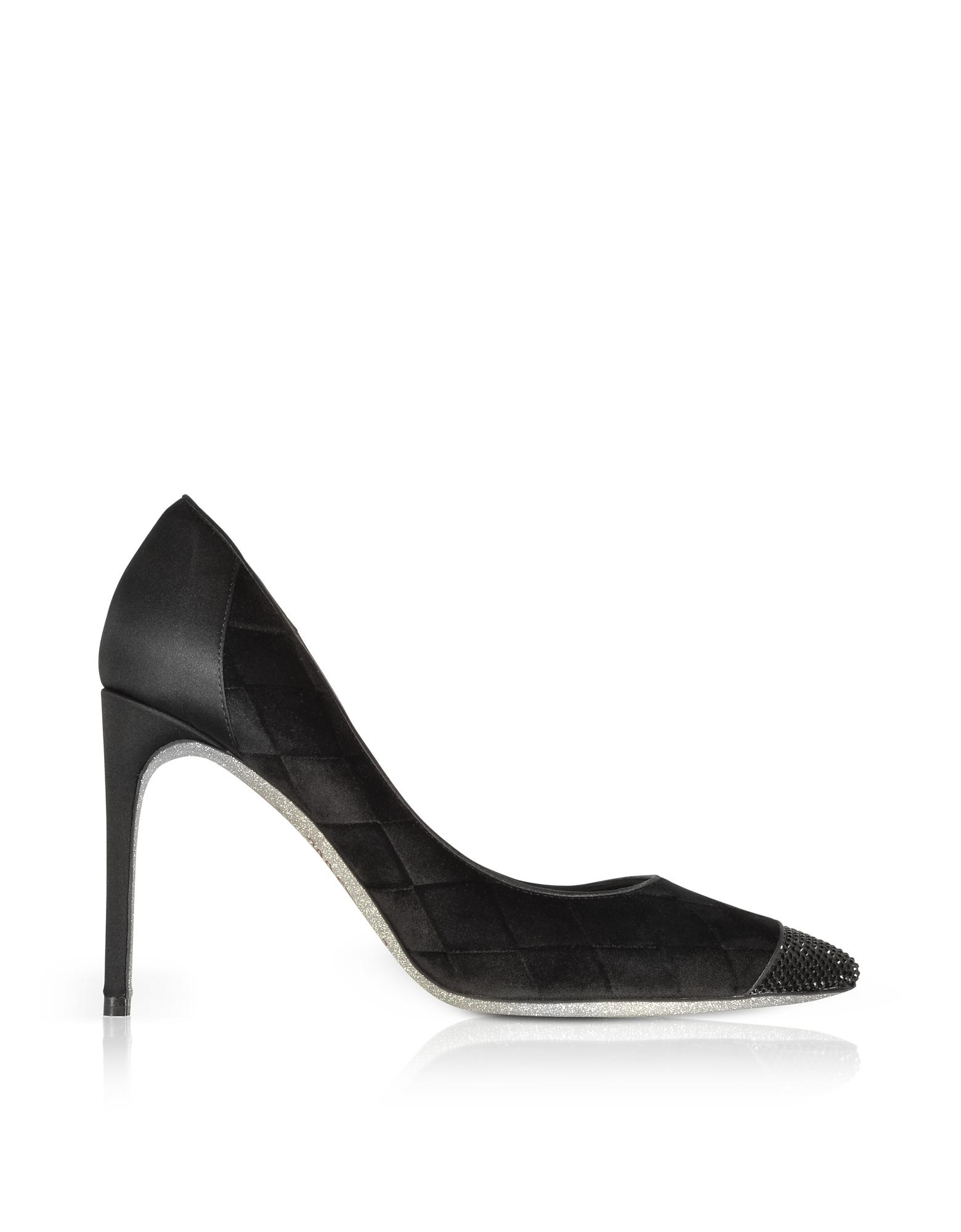 Image of Rene Caovilla Designer Shoes, Black Diamon Velvet Pumps w/Glitter Sole