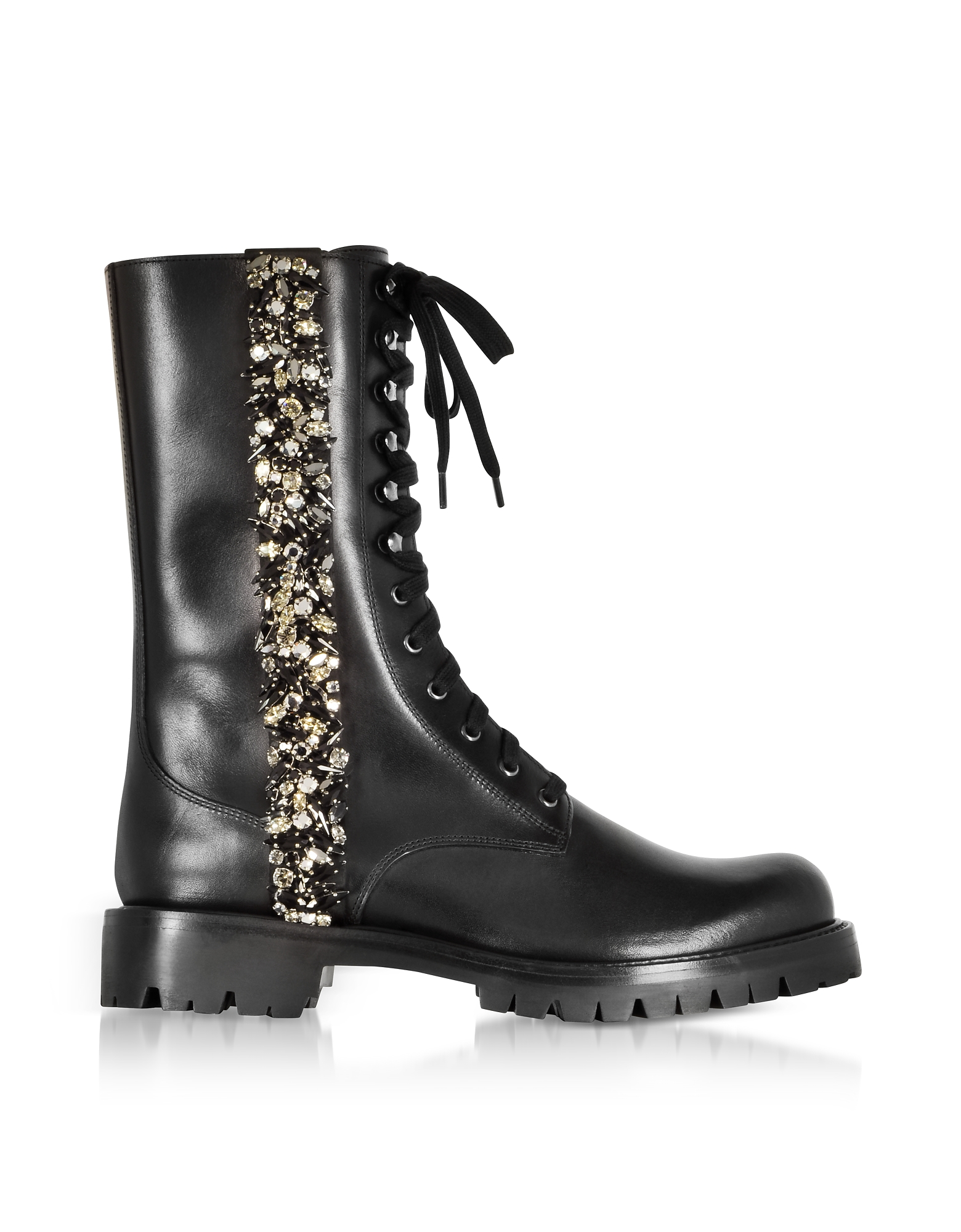 Image of Rene Caovilla Designer Shoes, Black Leather Combat Boots w/Crystals