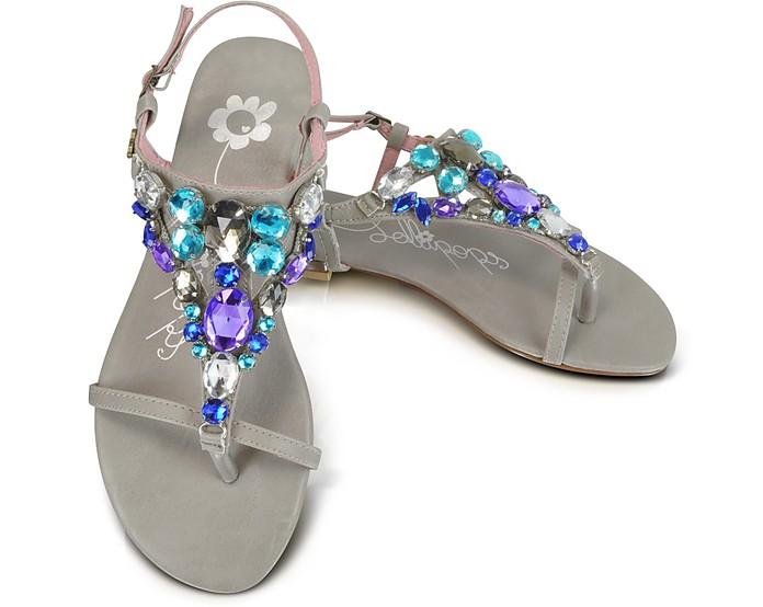 Kideal - Blue Jeweled Thong Sandal  - Lollipops