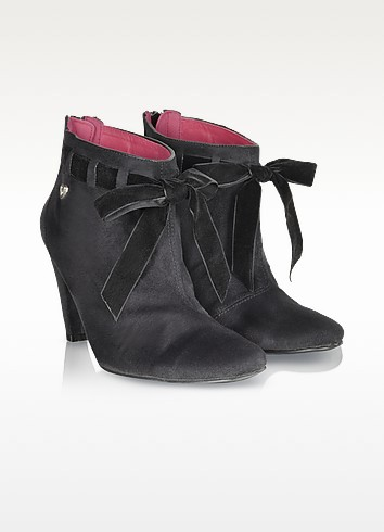 Ankle Bow Black Eco-Suede Booties - Lollipops