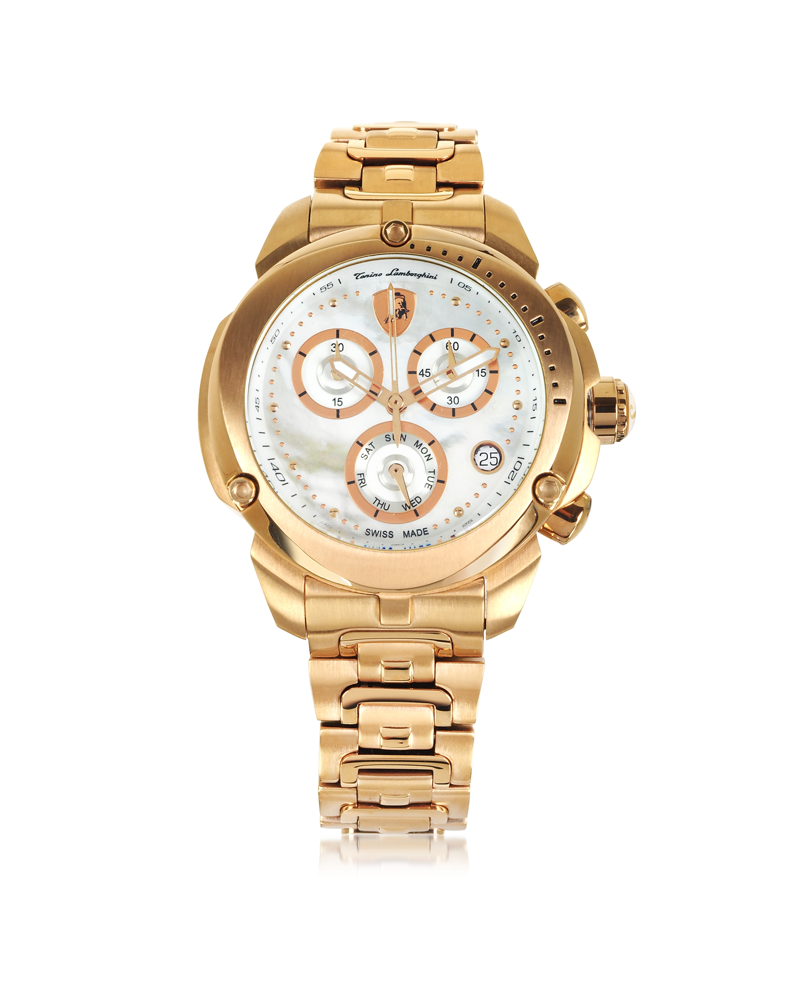 Tonino Lamborghini Women's Watches, Shield Lady Rose Gold Tone Stainless Steel Chronograph Watch