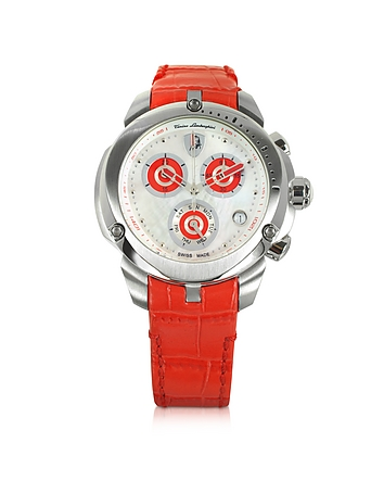 Tonino Lamborghini - Shield Lady Silver Tone Stainless Steel and Red Croco Print Leather Chronograph