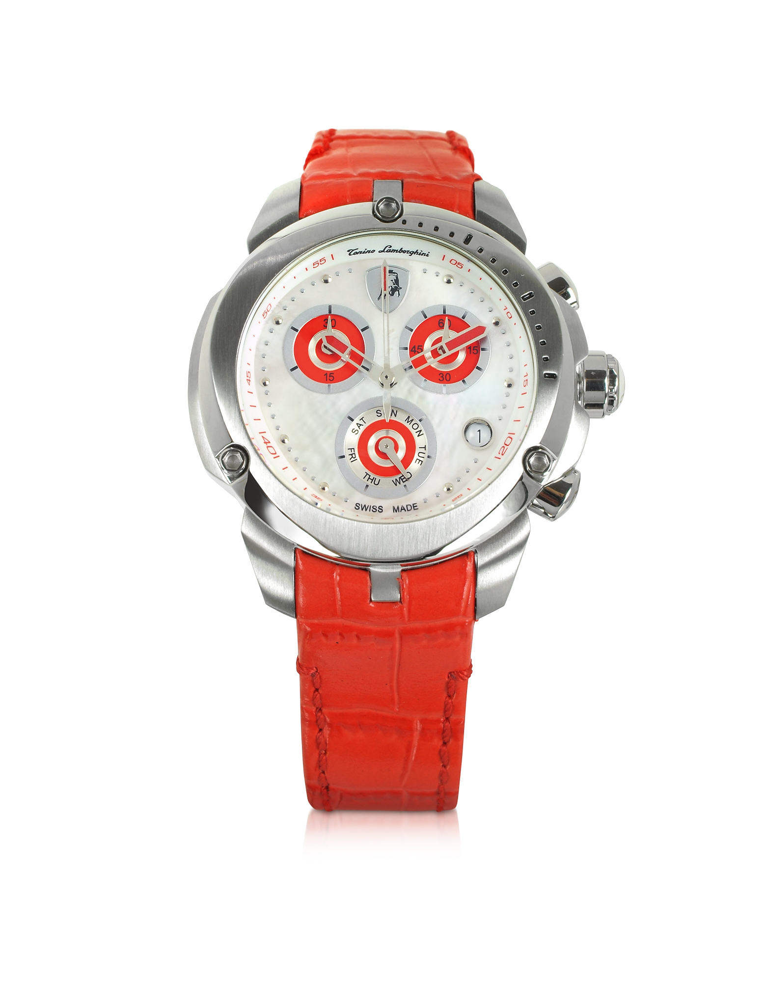Tonino Lamborghini Women's Watches, Shield Lady Silver Tone Stainless Steel and Red Croco Print Leat