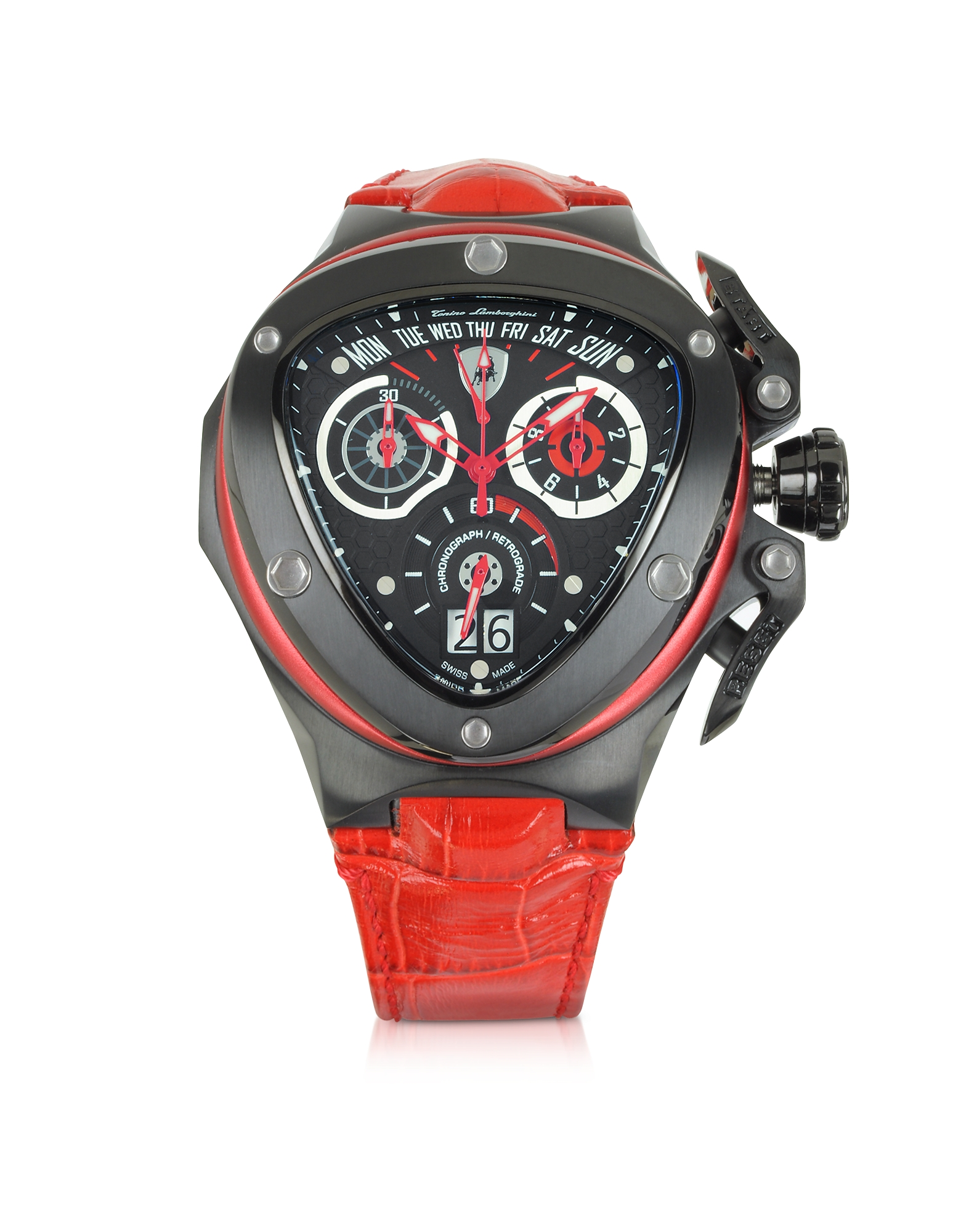 Spyder - Часы Хронограф с Красным Кожаным Ремешком
