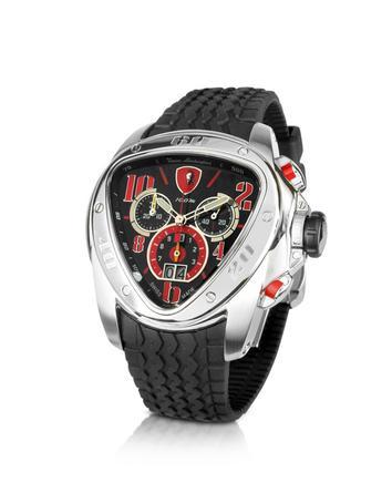 Tonino Lamborghini Men's Watches, Spyder - Black & Red Rubber Strap Chronograph Watch