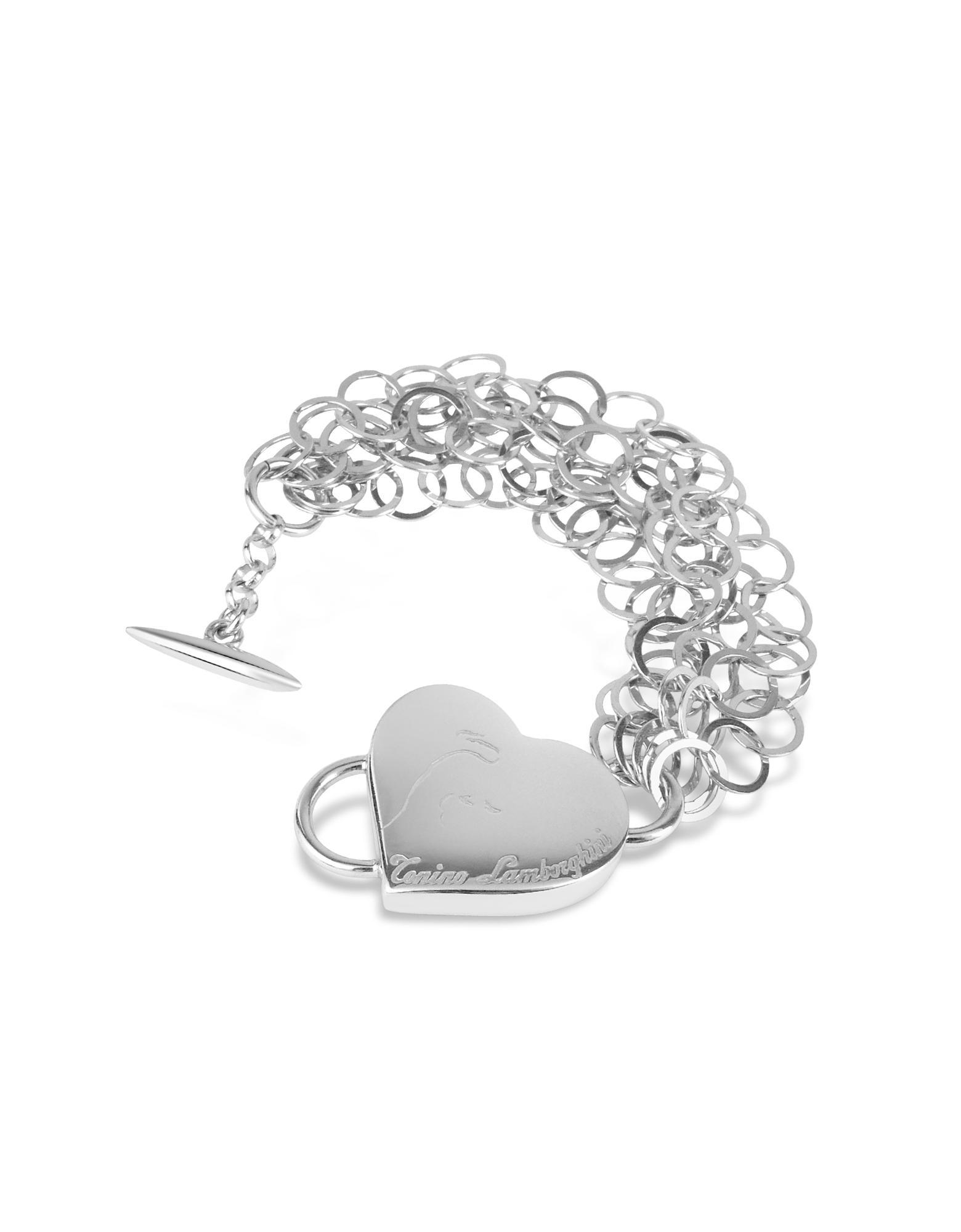 Tonino Lamborghini Sterling Silver Heart Toggle Bracelet