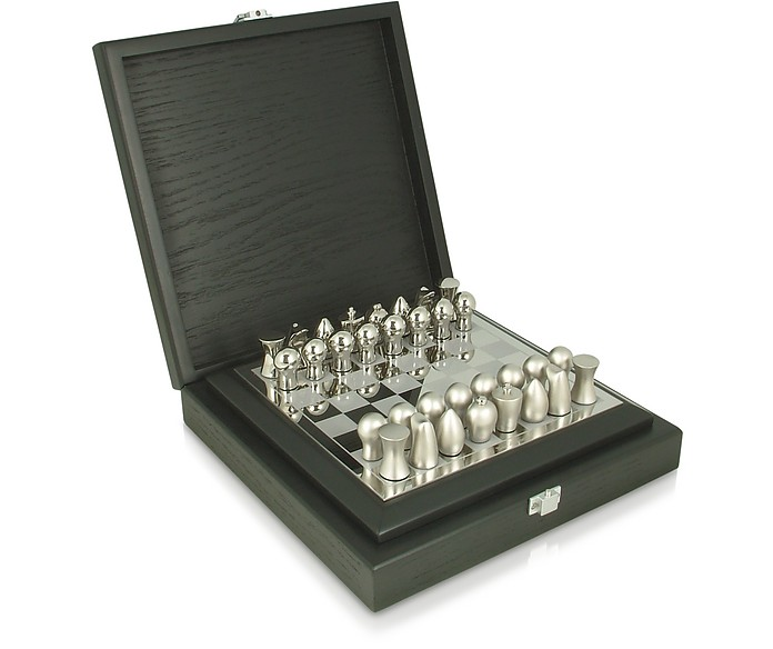 Silver Collection - Logo Chess Set in Wooden Box - Tonino Lamborghini