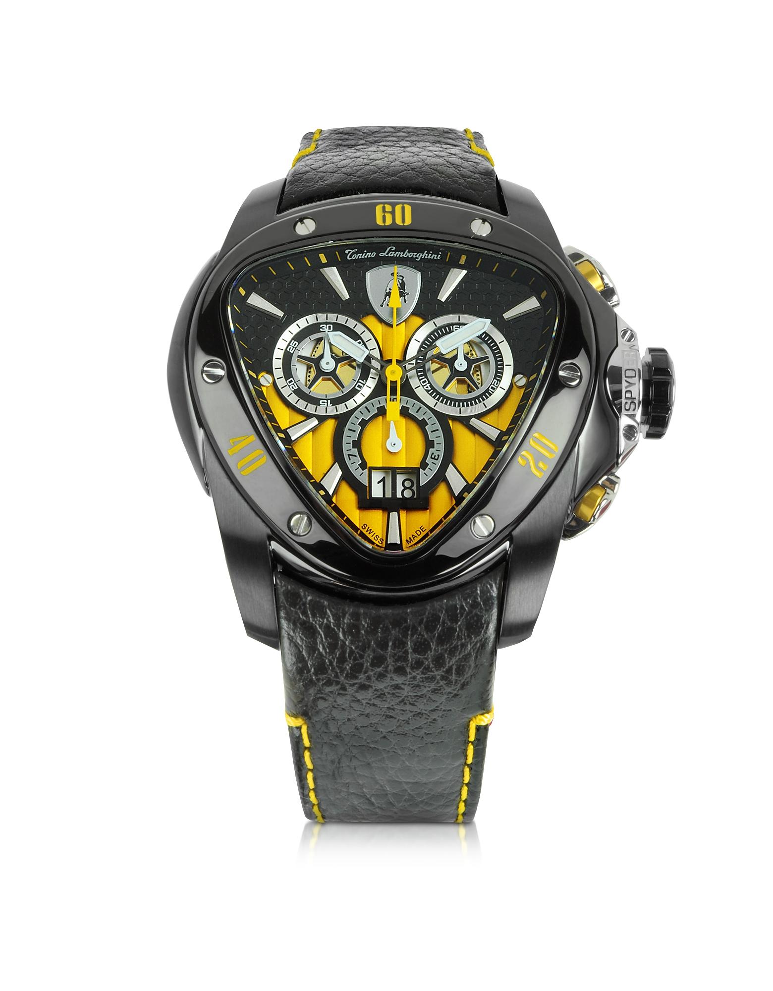 Tonino Lamborghini Spyder - Черные Часы Хронограф из Нержавеющей Стали с Желтым Циферблатом