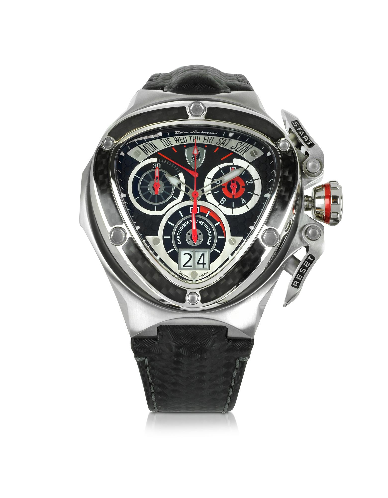 Tonino Lamborghini Spyder - Часы Хронограф из Красной и Серебристой Нержавеющей Стали