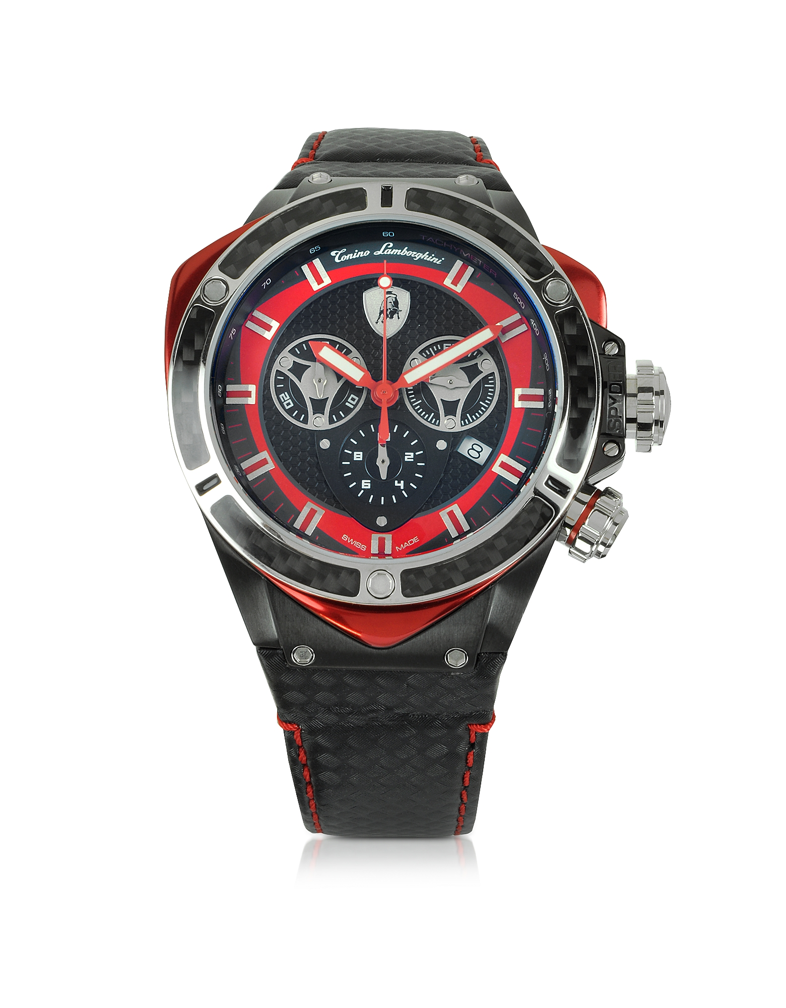 Tonino Lamborghini Men's Watches, Black Stainless Steel and Carbon Fiber Spyder Chronograph Watch