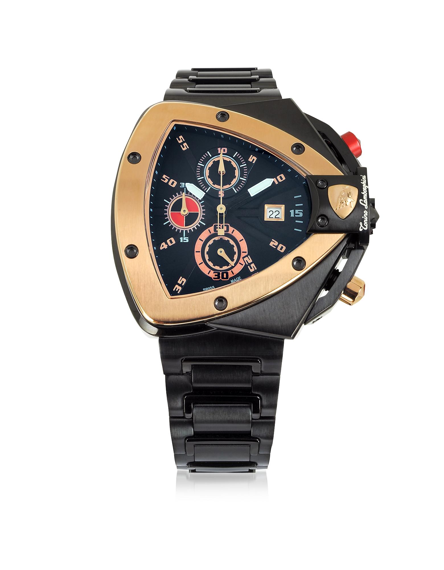Tonino Lamborghini Spyder - Часы Хронограф из Черной и Розовой Нержавеющей Стали