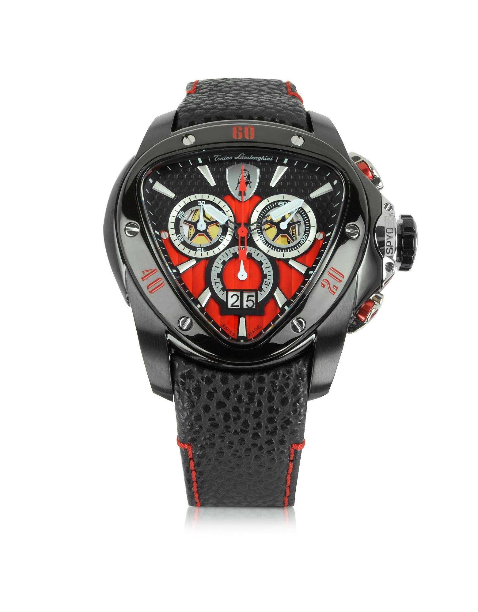 Tonino Lamborghini Spyder - Черные Часы Хронограф из Нержавеющей Стали с Красным Циферблатом