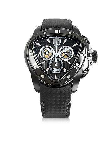Tonino Lamborghini - Black Stainless Steel Spyder Chronograph Watch w/Black Carbon Fiber Strap