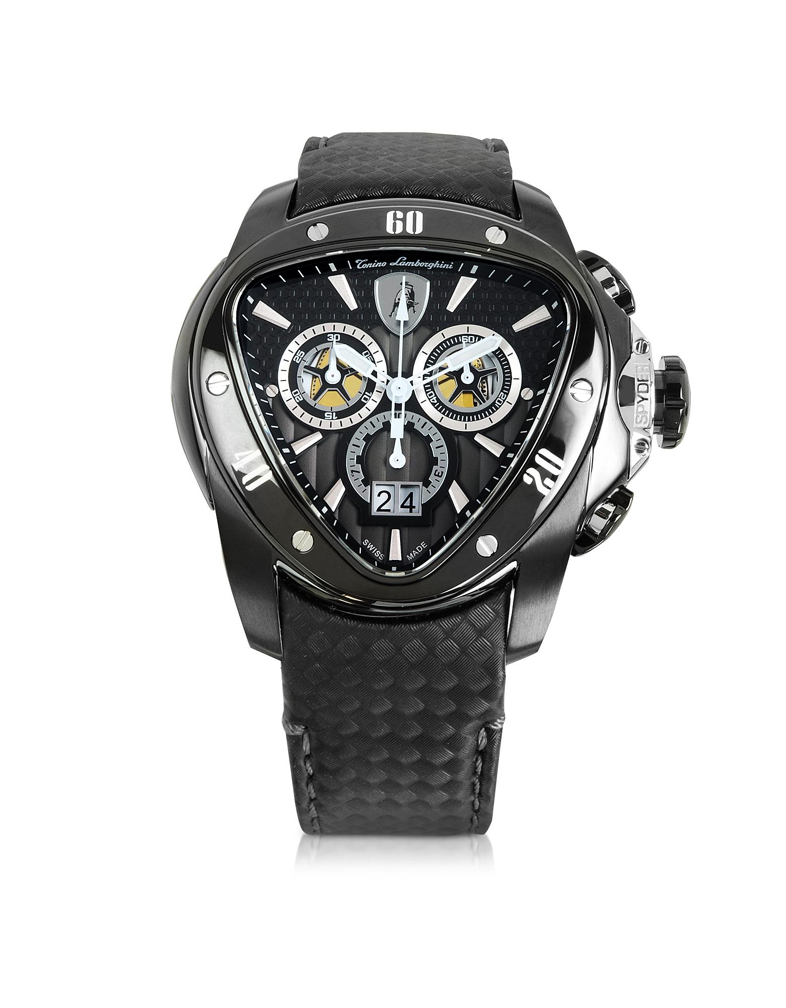 Tonino Lamborghini Spyder - Черные Часы Хронограф из Нержавеющей Стали с Ремешком из Углеродного Волокна