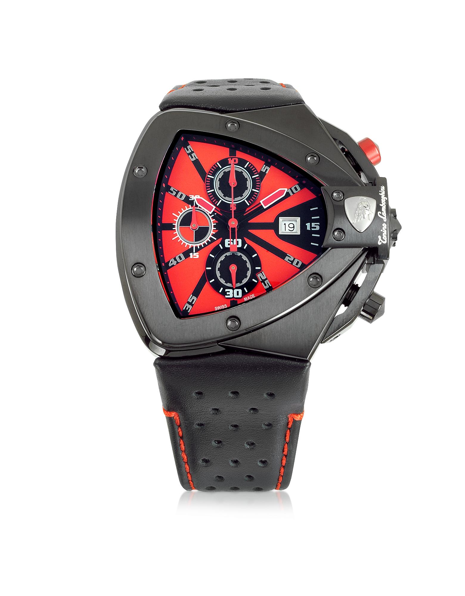 Horizontal Spyder - Черные Часы Хронограф из Нержавеющей Стали с Красным Циферблатом