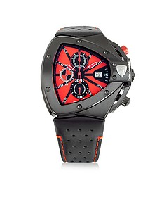 tonino lamborghini watches for men forzieri black stainless steel horizontal spyder chronograph watch w red dial tonino lamborghini