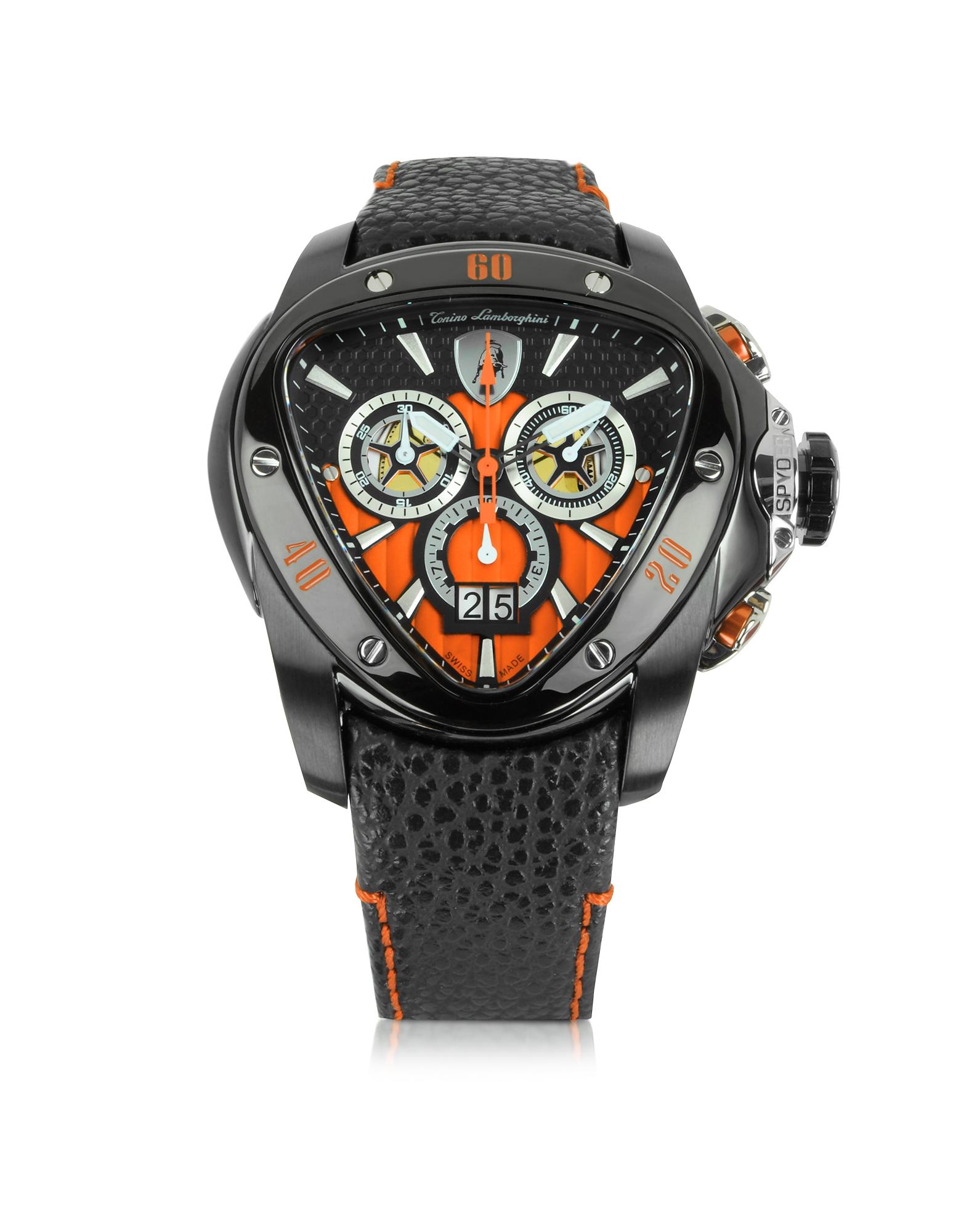 Tonino Lamborghini Spyder - Черные Часы Хронограф из Нержавеющей Стали с Оранжевым Циферблатом