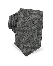 Feathers Pure Jacquard Silk Narrow Tie - Lanvin