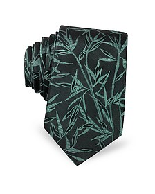 Leaves Pure Jacquard Silk Narrow Tie - Lanvin