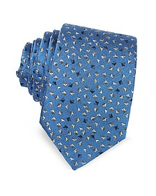 Geometric Square Patterned Woven Silk Tie - Lanvin