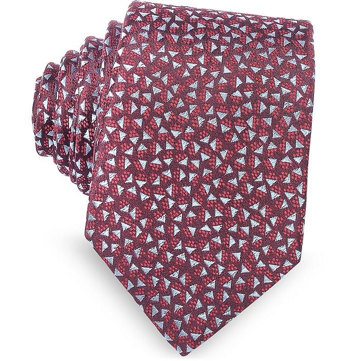 Burgundy Geometric Square Patterned Woven Silk Tie - Lanvin