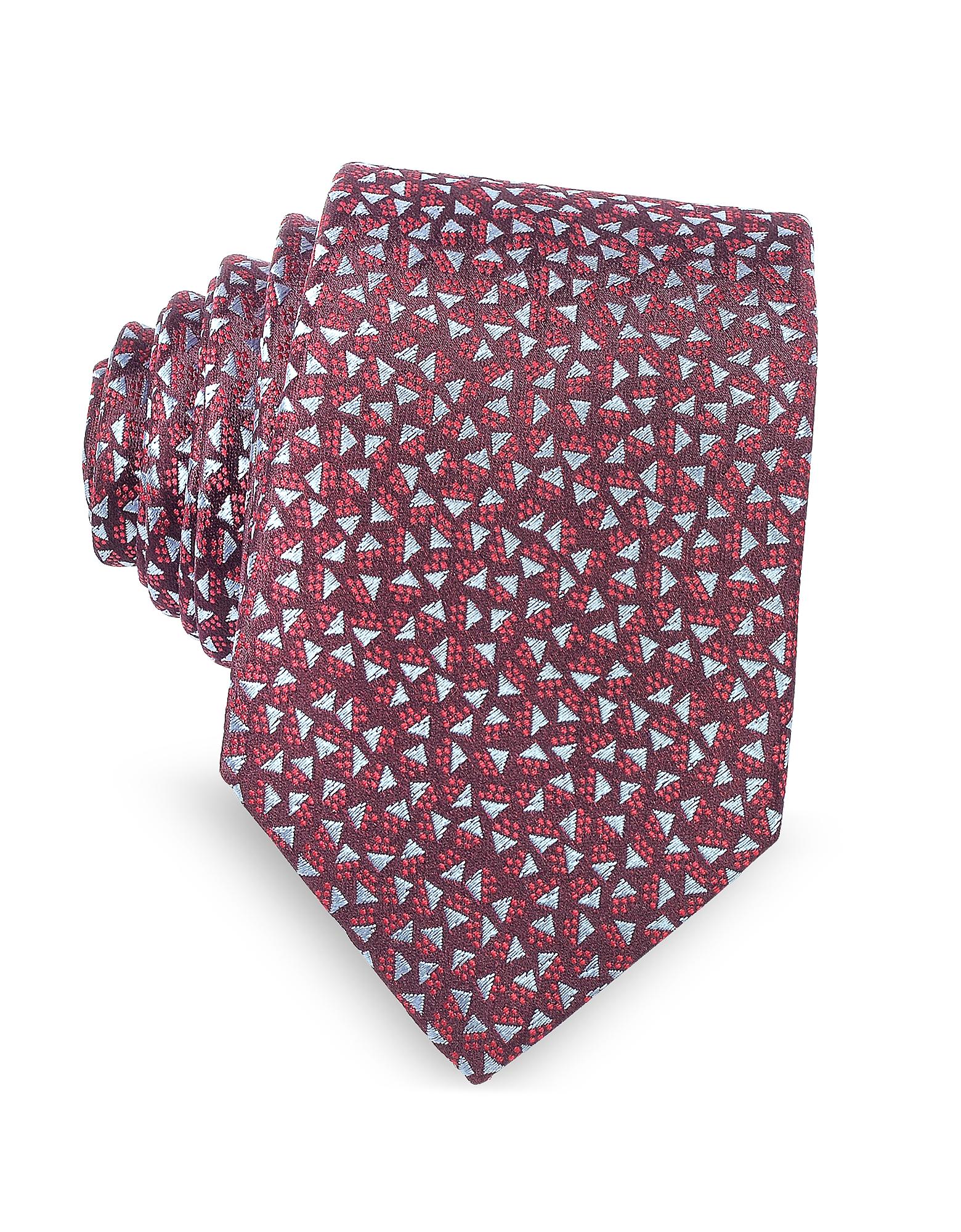 Бордовый Галстук из Текстурного Шелка с Геометрическим Узором Квадратов