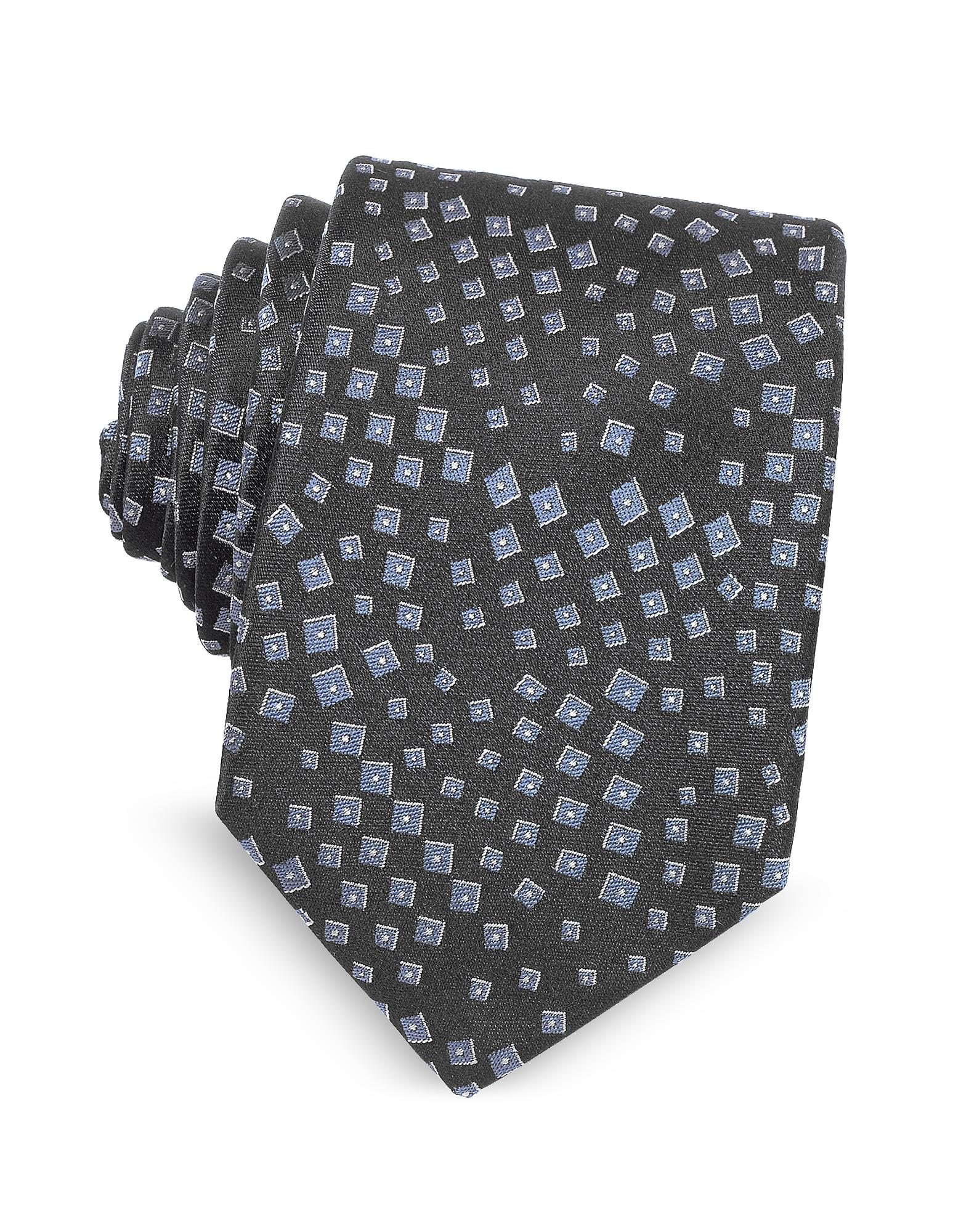Lanvin Ties, Geometric Pattern Woven Silk Tie
