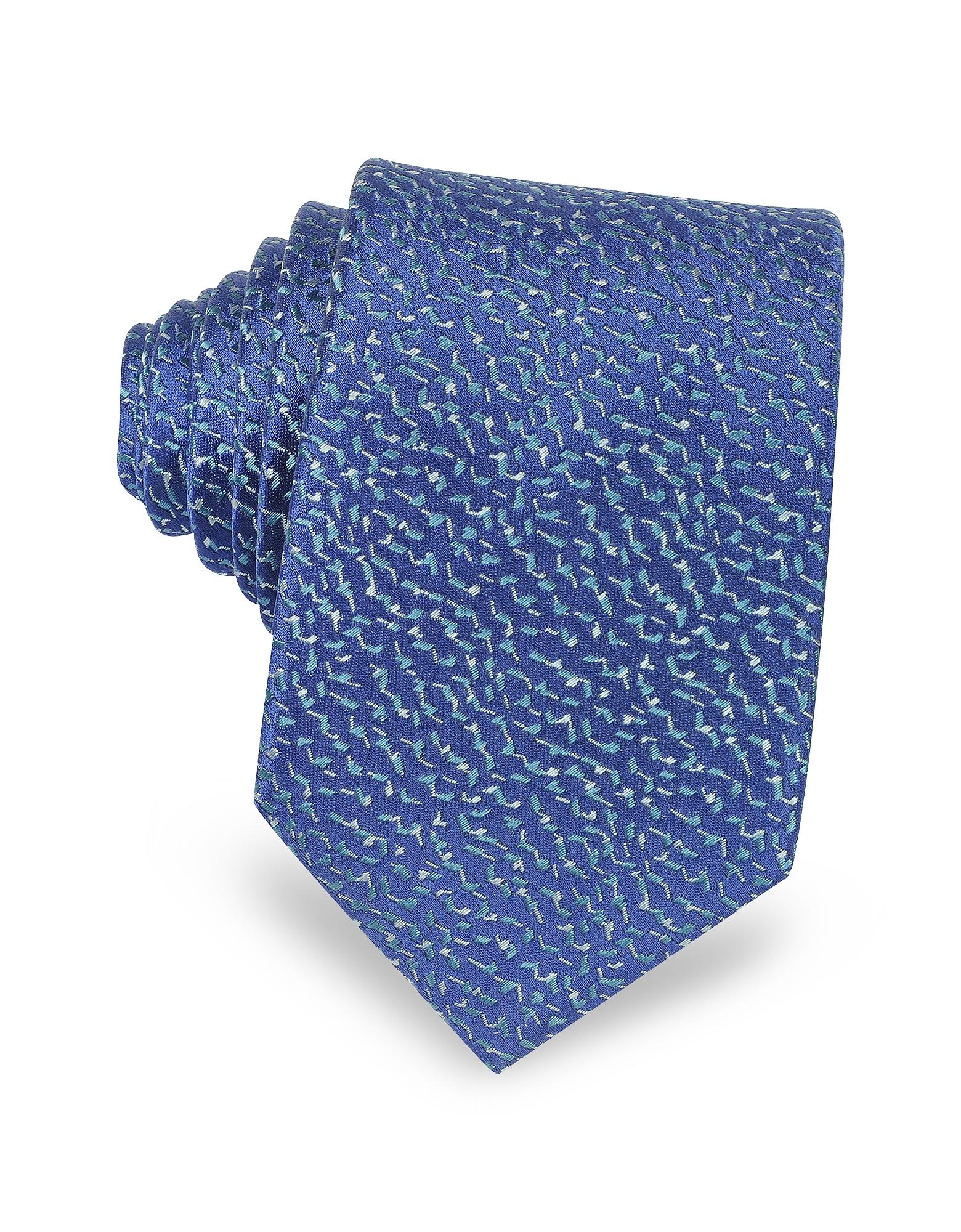 Lanvin Узкий Галстук из Твилового Шелка с Геометрической Текстурой