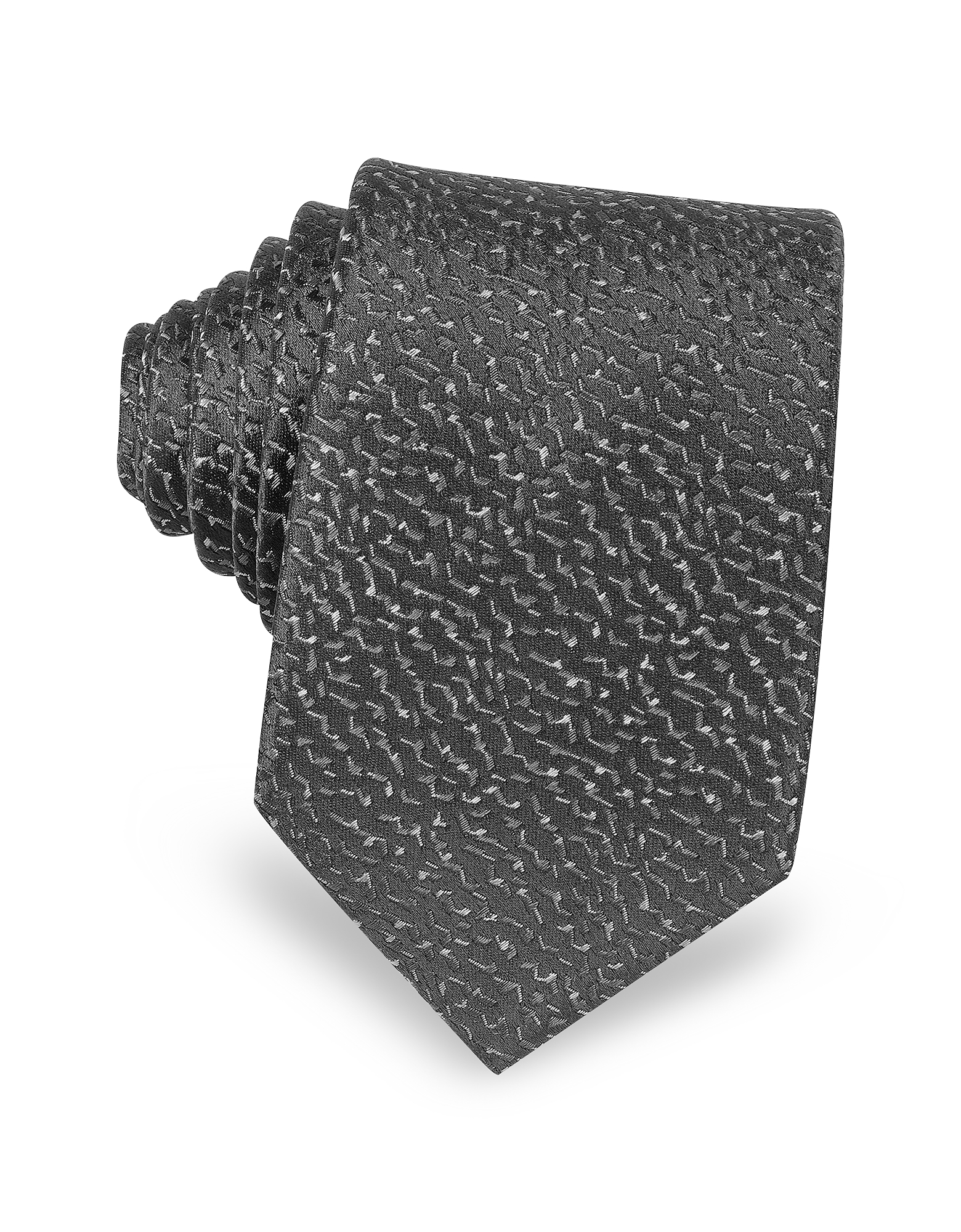 Lanvin Ties, Geometric Woven Twill Silk Narrow Tie
