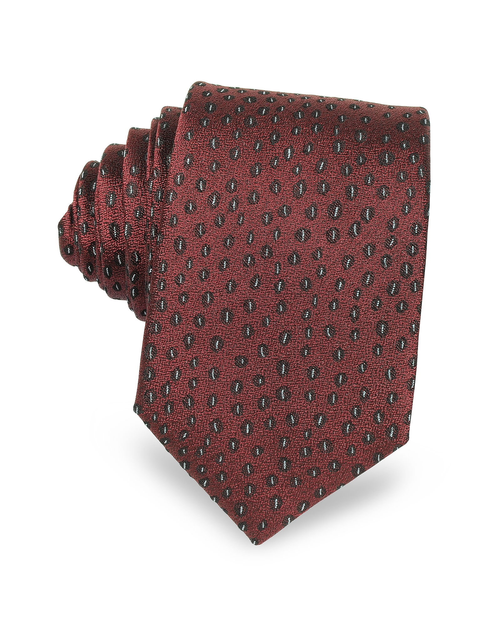 Abstract Woven Twill Silk Narrow Tie