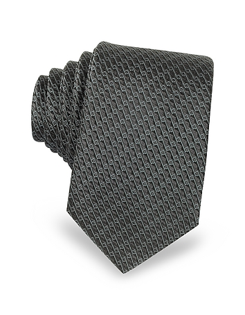 Lanvin - Dark Gray Woven Silk Narrow Tie