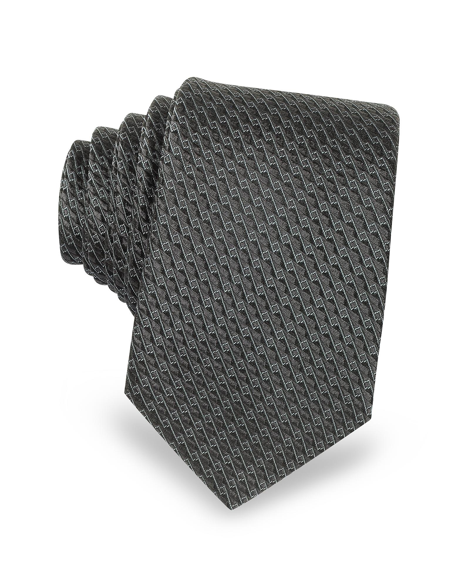 Lanvin Темно-серый Узкий Галстук из Текстурного Шелка