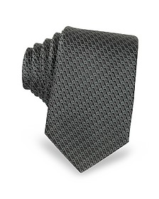 Dark Gray Woven Silk Narrow Tie - Lanvin