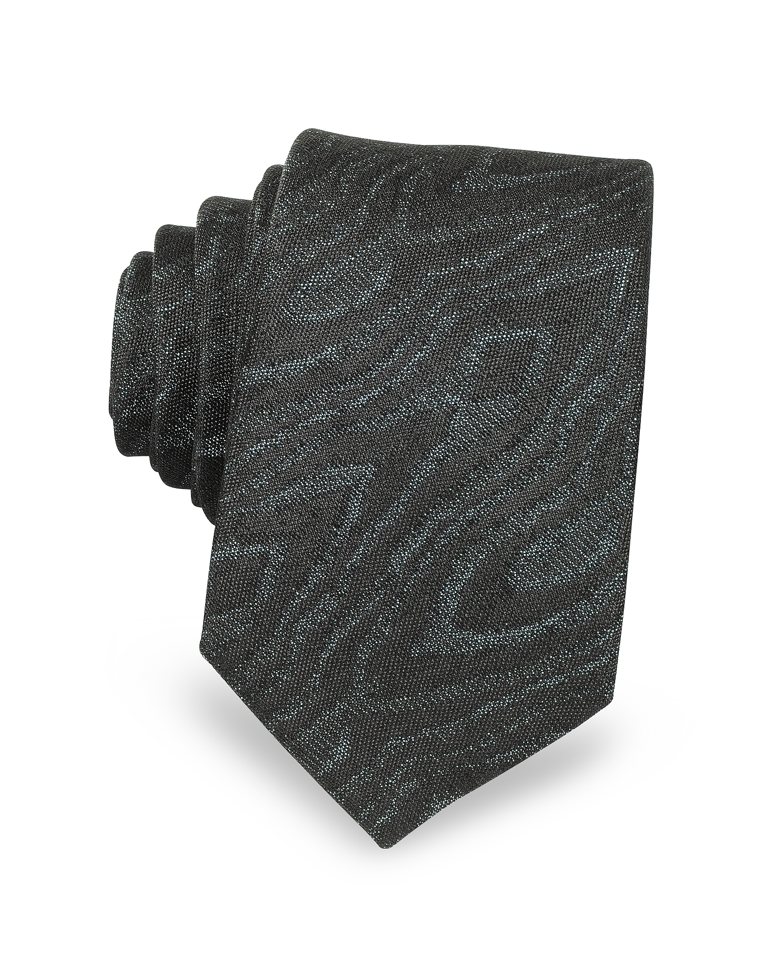 Lanvin Ties, Black Woven Silk Narrow Tie