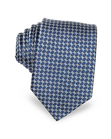 Blue Optical Woven Silk Narrow Tie - Lanvin