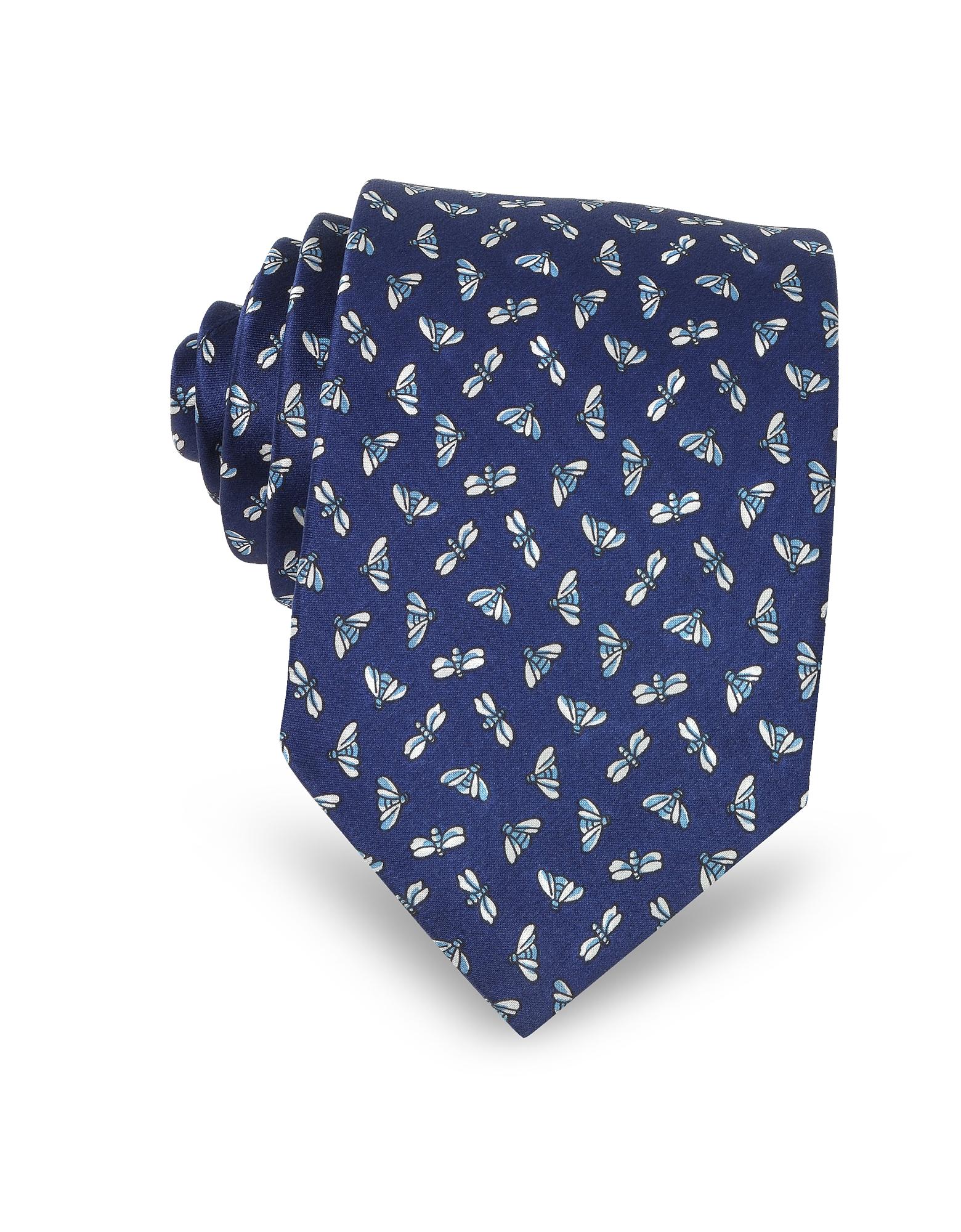 Lanvin Ties, Fly Print Silk Men's Narrow Tie