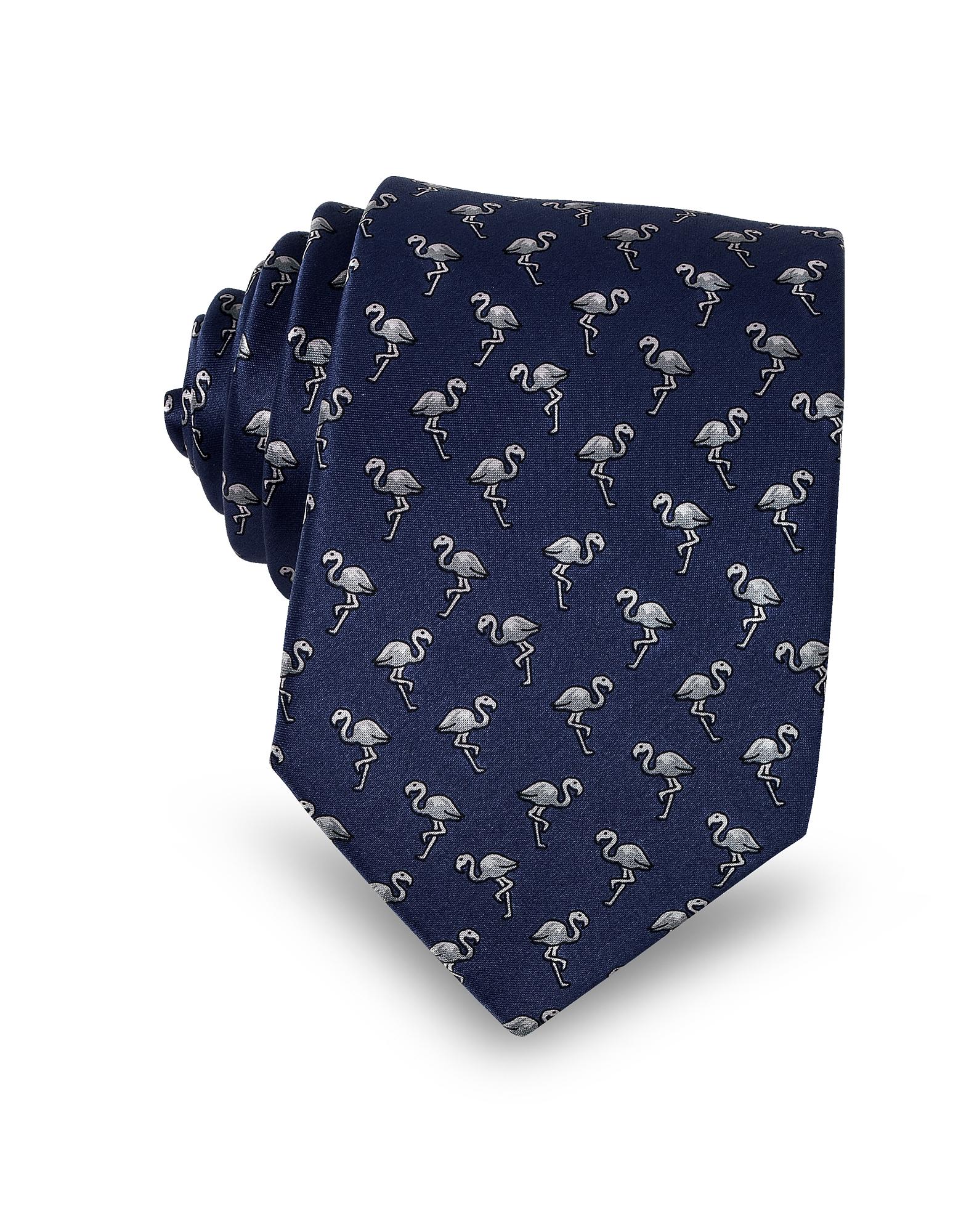 Flamingo Print Silk Men's Narrow Tie