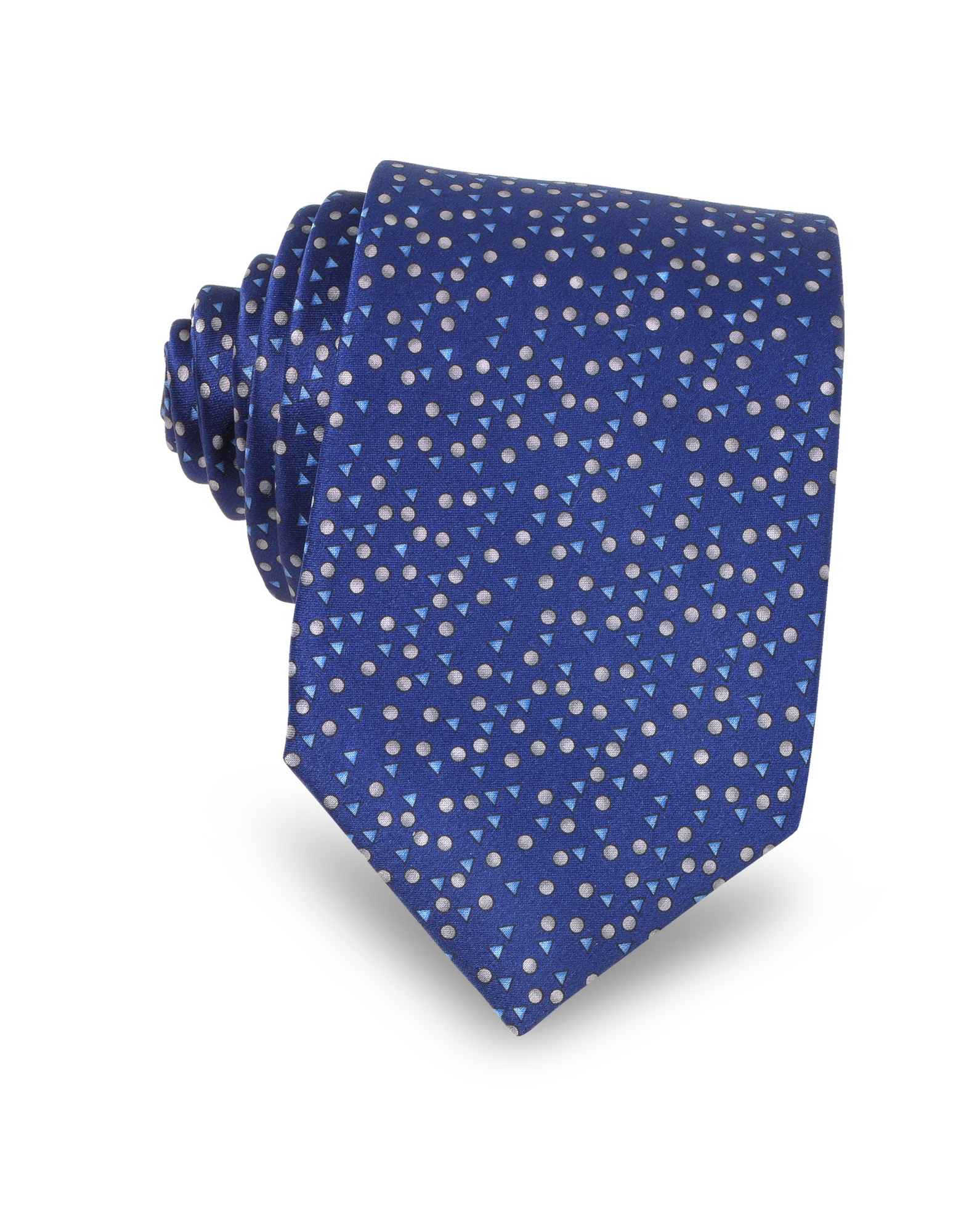 Image of Cobalt Blue Geometric Print Silk Men's Narrow Tie