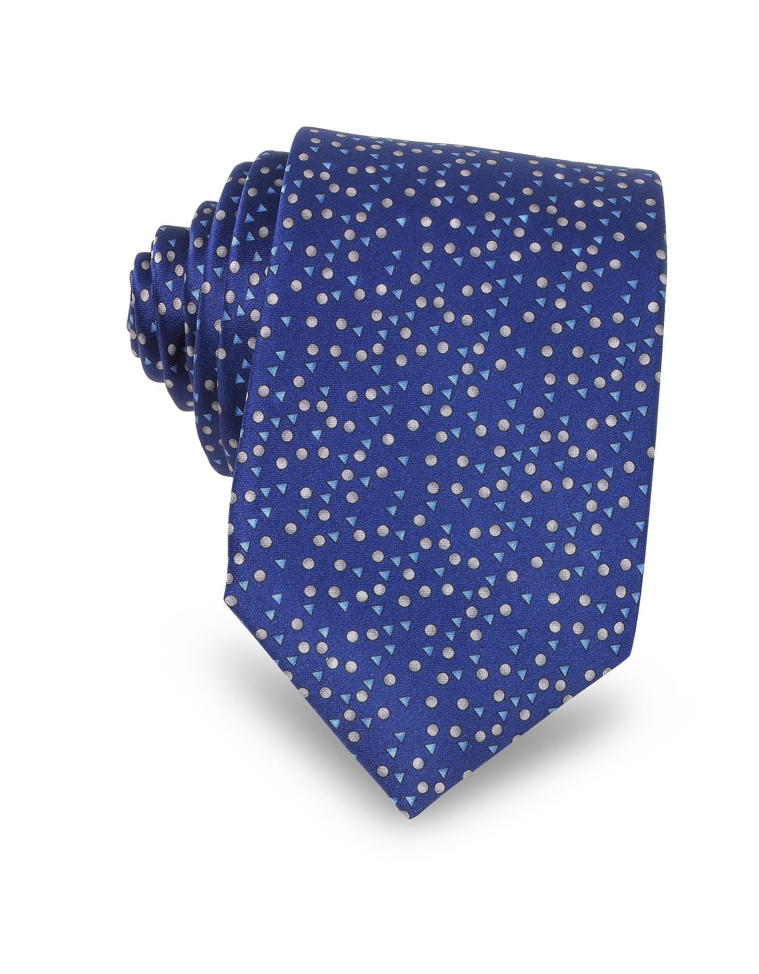 Cobalt Blue Geometric Print Silk Men's Narrow Tie