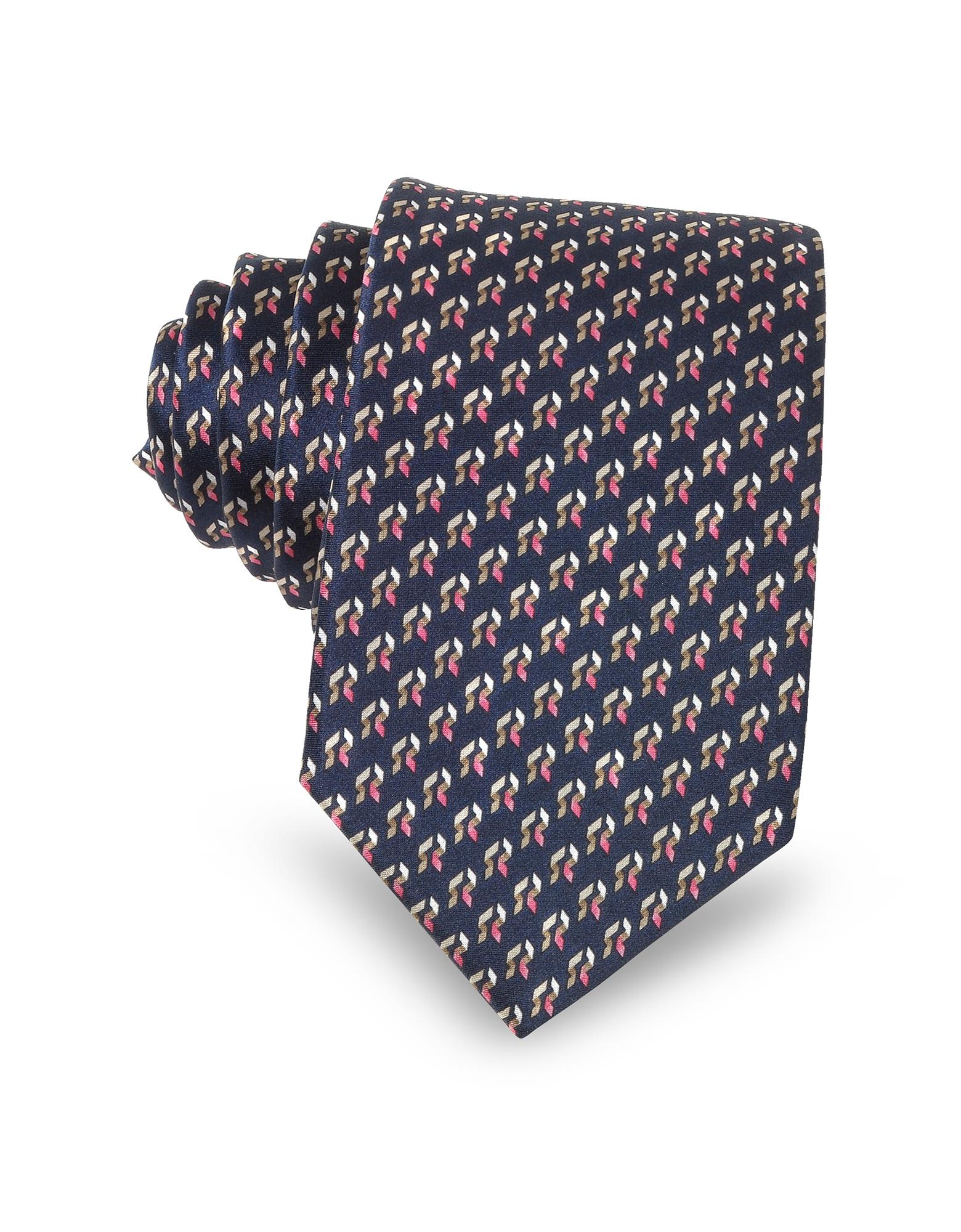 Navy Blue Abstract Print Silk Men's Narrow Tie