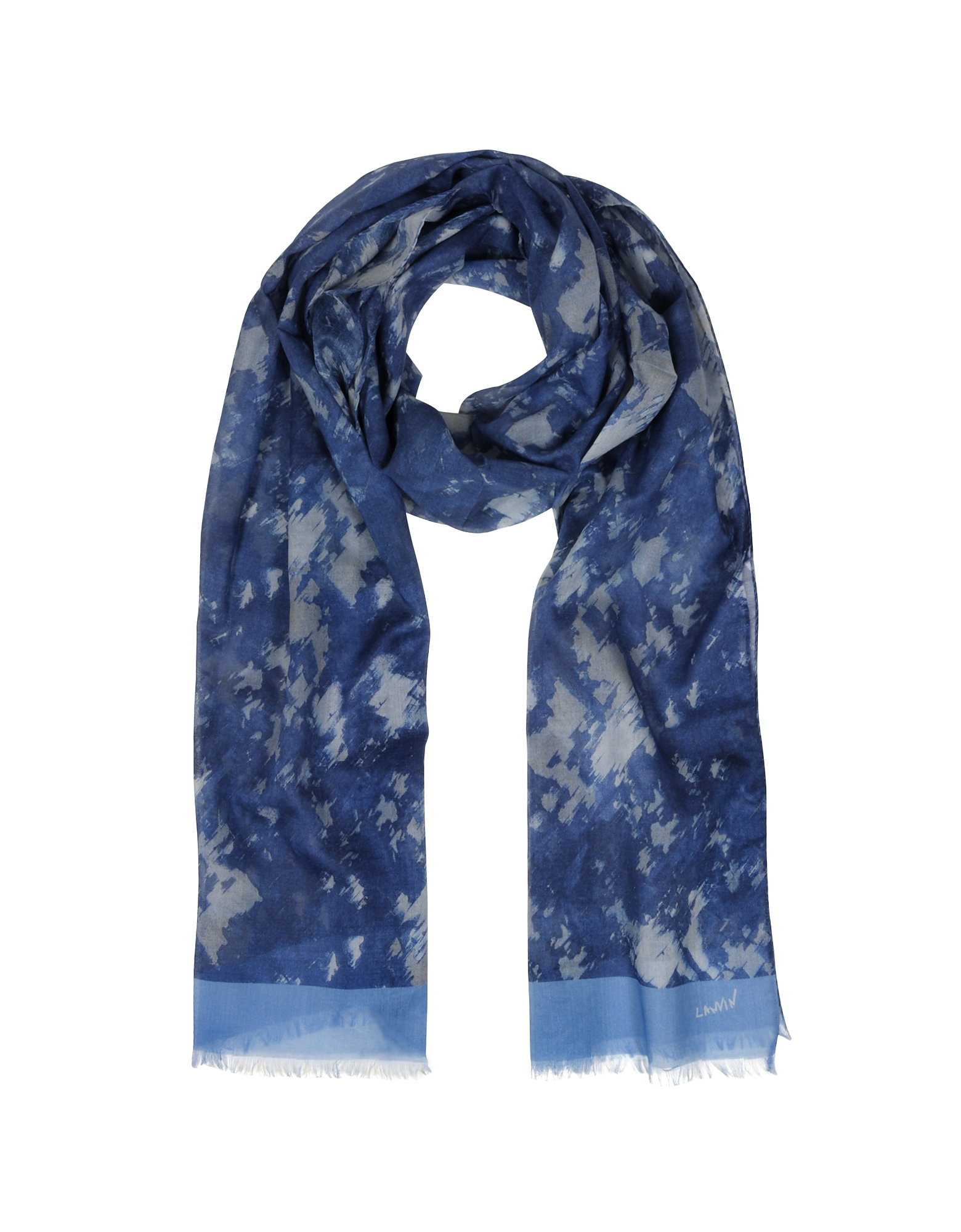 Blue Dappled Print Cotton Fringed Men's Scarf от Forzieri.com INT
